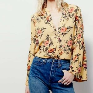 Free People Easy Girl Printed Top Size Small